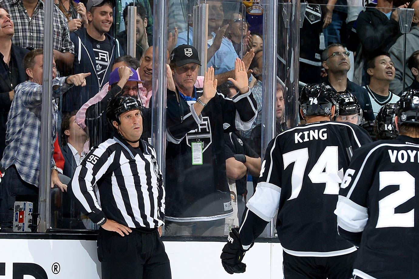 Will Ferrell cheers during Game Six of the Western Conference Final between the Los Angeles Kings and Chicago Blackhawks on May 30, 2014 at Staples Center in Los Angeles.
