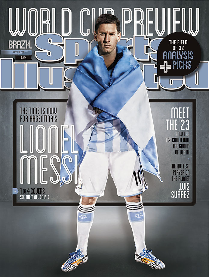 Argentina's Lionel Messi appears on the June 9, 2014 cover of the World Cup Preview Issue of Sports Illustrated.