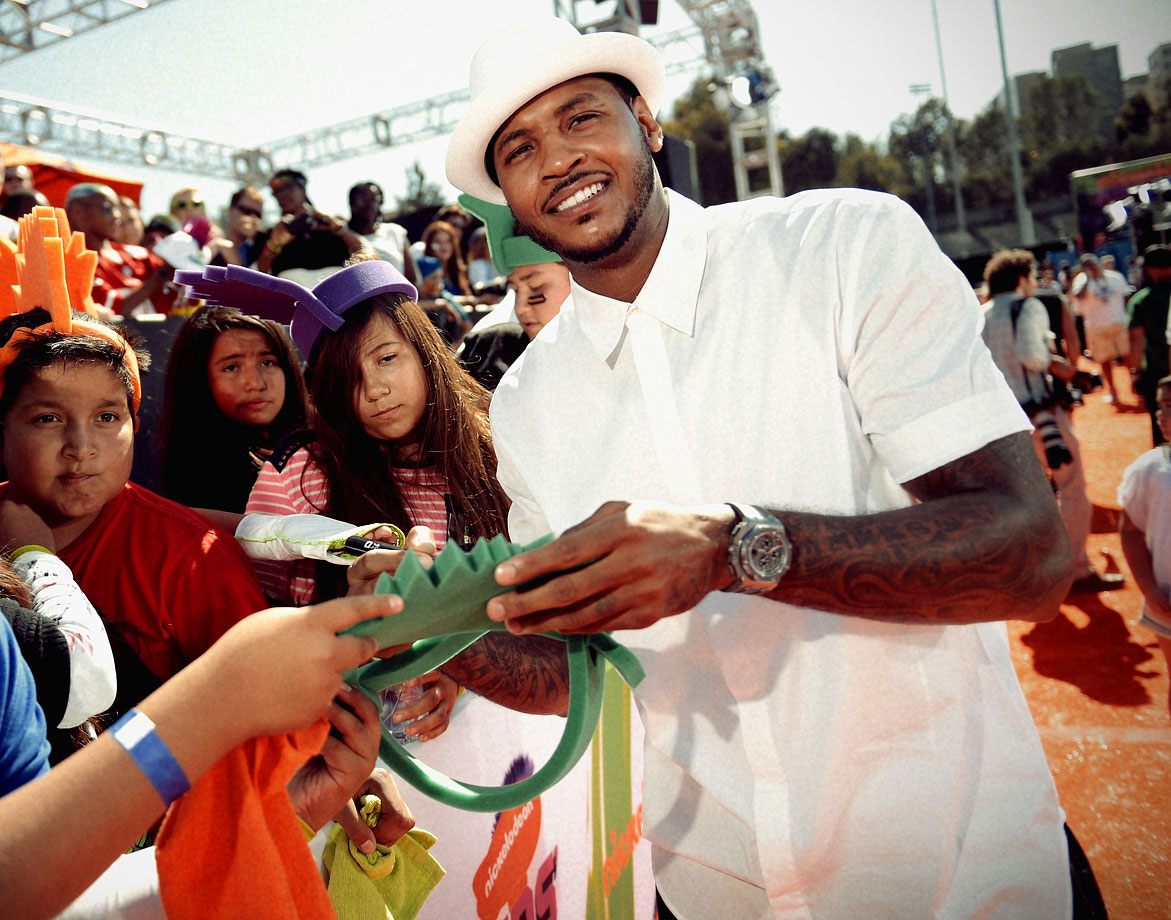 Carmelo Anthony attends the Nickelodeon Kids' Choice Sports Awards at the Pauley Pavilion in Los Angeles.