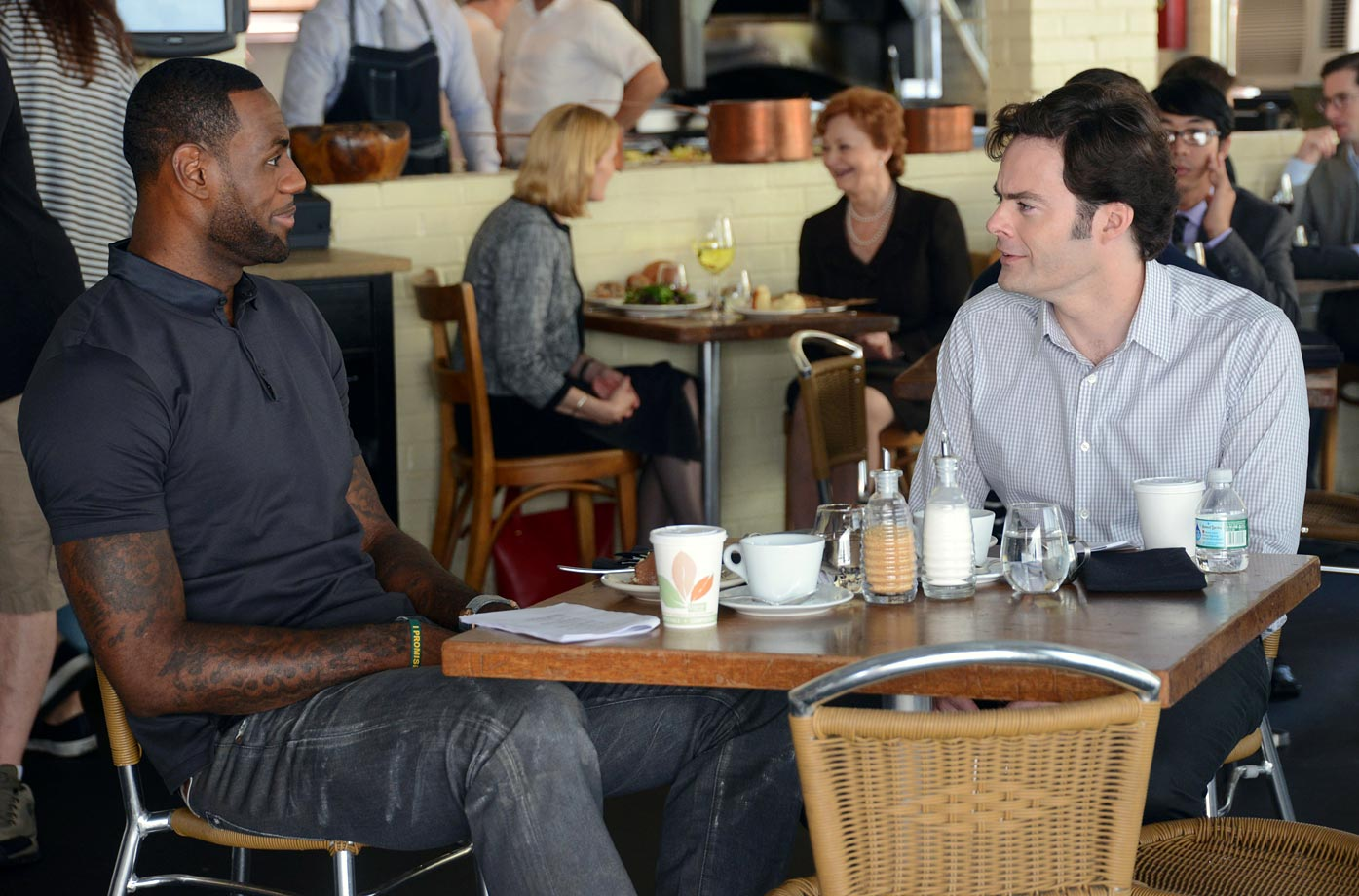 "Lebron looks to be filming his role in the upcoming comedy ""Trainwreck"" with Bill Hader at a restaurant in New York City during the summer of 2014."