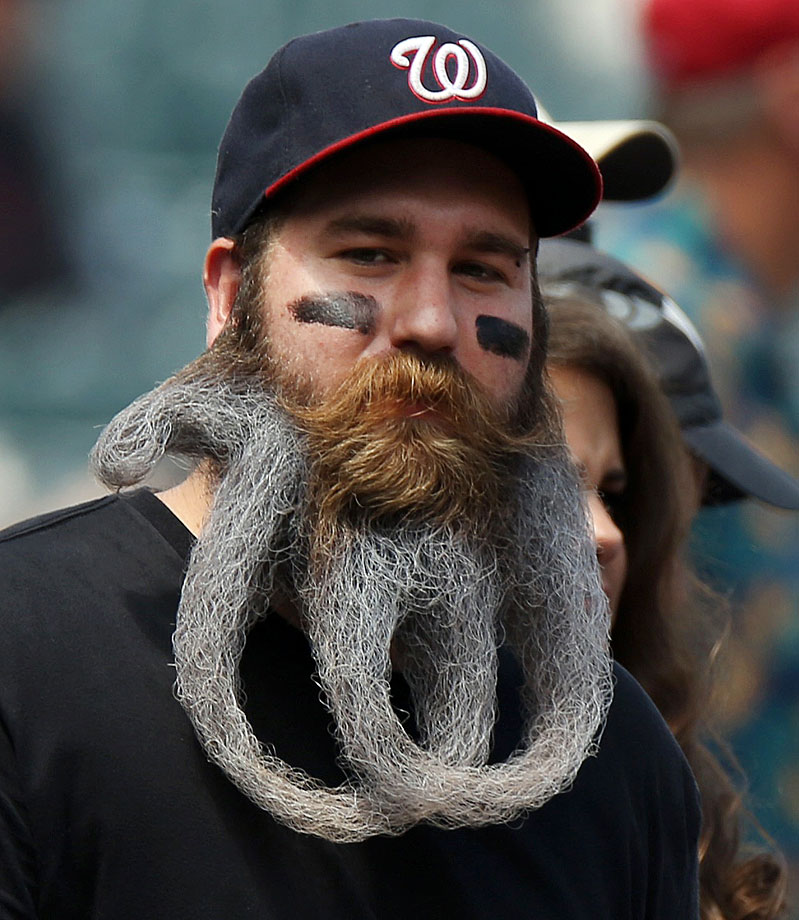 Eric Brooks, a hard-core Nationals fan, showed up at two games last week with his beard shaped into the team logo.