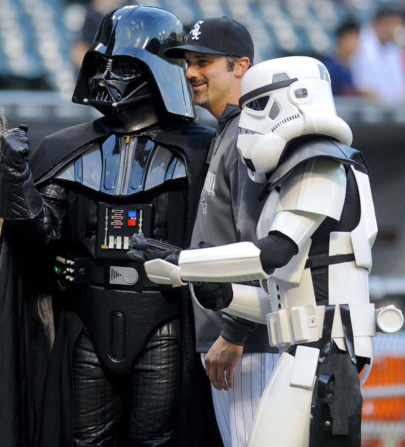 "Chicago White Sox first baseman Paul Konerko poses with Darth Vader and a stormtrooper before the White Sox game against the Cleveland Indians during ""Star Wars Night' on Aug. 29, 2014 at U.S. Cellular Field in Chicago."