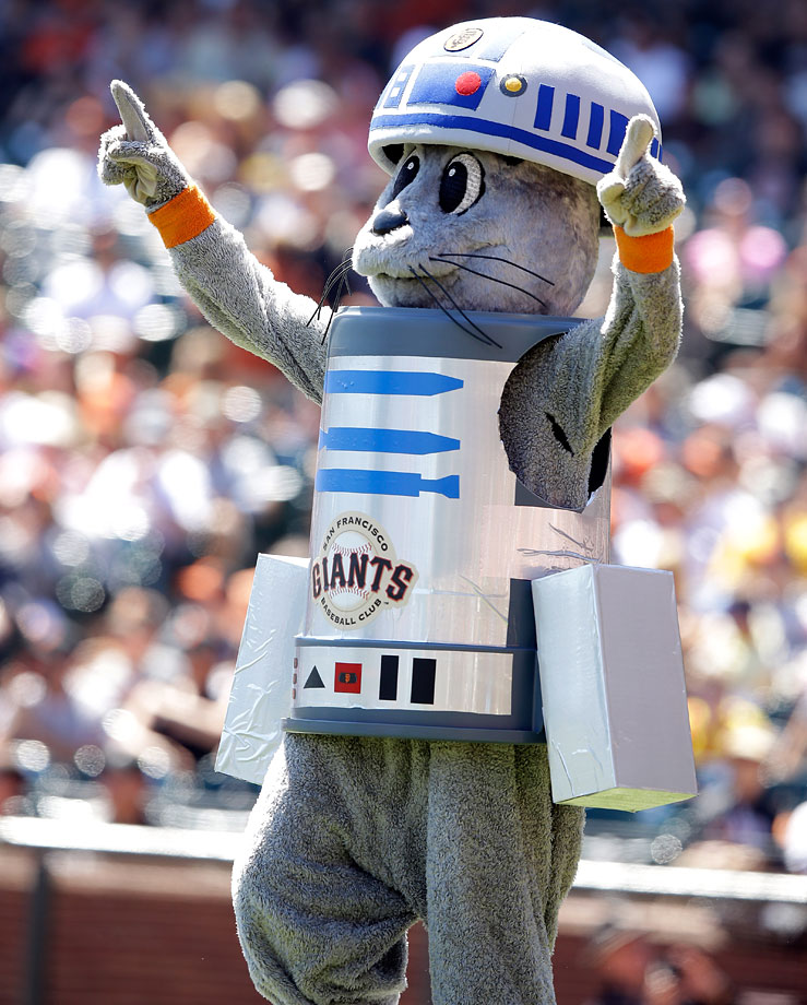 San Francisco Giants mascot Lou Seal dresses up as R2-D2 before the Giants game against the Milwaukee Brewers on Aug. 31, 2014 at AT&T Park in San Francisco.