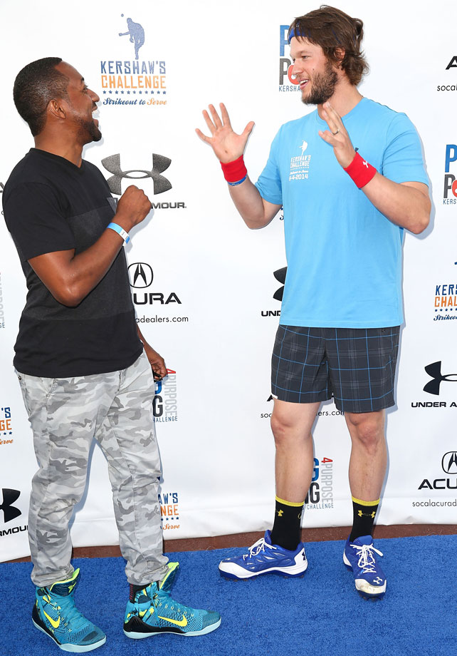 Jaleel White laughs with Clayton Kershaw as they attend Clayton Kershaw's 2nd Annual Ping Pong 4 Purpose charity event benefiting 'Kershaw's Challenge' at Dodger Stadium on Sept. 4, 2014 in Los Angeles.