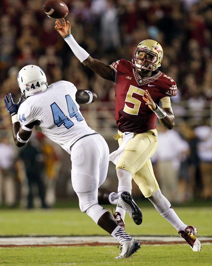 The Seminoles raced to a 34-0 margin by the end of the third quarter in a comfortable nonconference victory. Quarterback Jameis Winston efficiently dissected the Bulldogs, completing 22-of-27 passes for 256 yards with two touchdowns.