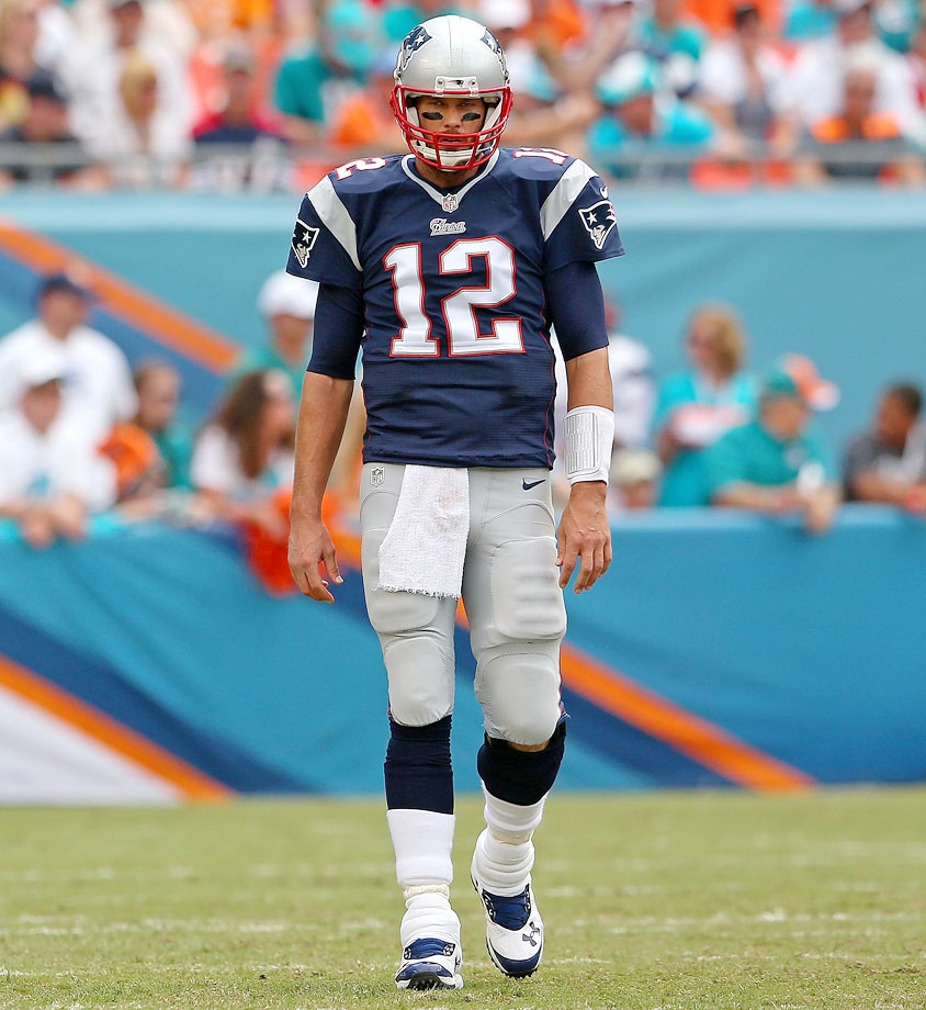 The Patriots opened the 2014 season with a head-turning 33-20 loss to the Dolphins on the road. Tom Brady completed only 29 of his 56 pass attempts and threw just one touchdown. New England was outscored 23-0 in the second half.