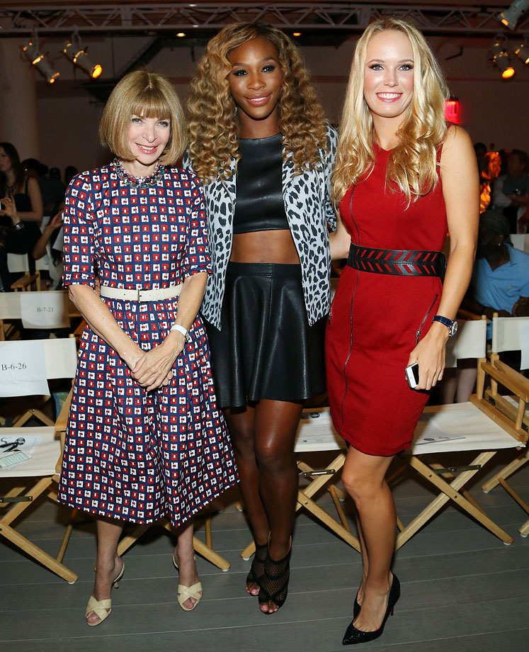 Serena Williams and Caroline Wozniacki pose with Anna Wintour at the Serena Williams Signature Statement by HSN fashion show during Style360 Spring 2015 at Metropolitan West on Sept. 9, 2014 in New York City.