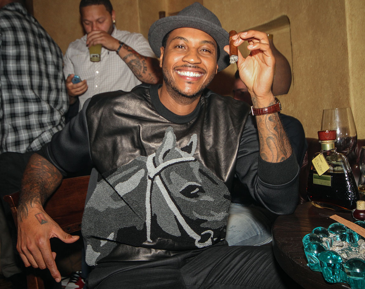 Carmelo Anthony attends the birthday dinner for J.R. Smith at S Prime in Astoria, N.Y.