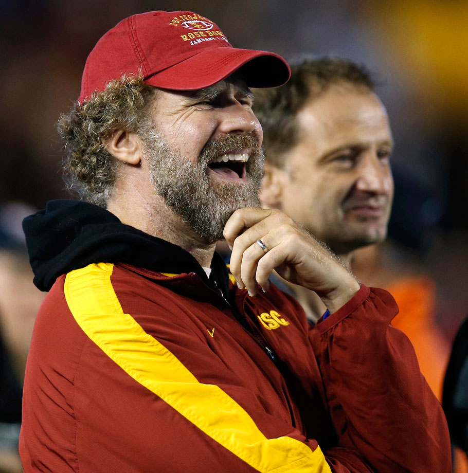 Will Ferrell has a laugh along the sidelines during the USC Trojans game against the Boston College Eagles on Sept. 13, 2014 at Alumni Stadium in Chestnut Hill, Mass.