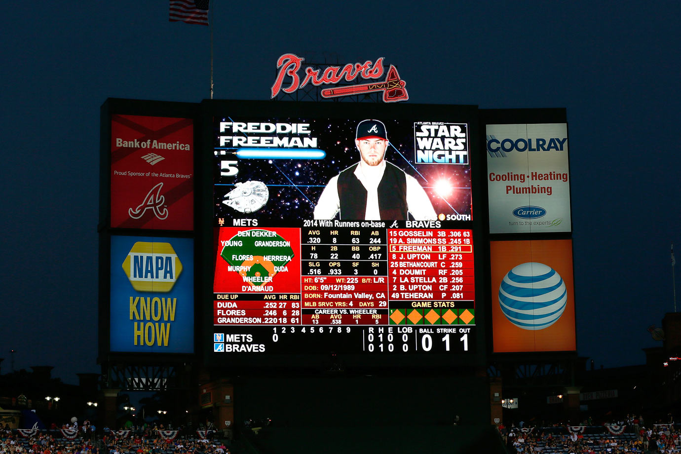 "Atlanta Braves first baseman Freddie Freeman appears dressed as Han Solo on the jumbotron during the Braves game against the New York Mets on ""Star Wars Night"" on Sept. 19, 2014 at Turner Field in Atlanta."