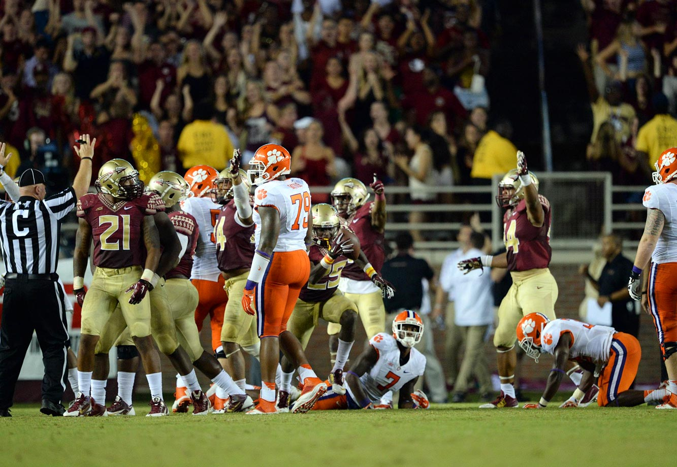 While Winston watched from the sideline as a suspension for yelling an obscene phrase on campus, the Seminoles survived to overtime by forcing a C.J. Davidson fumble at the 14-yard line with under two minutes remaining. Florida State's defense came up clutch again in overtime, stuffing Clemson on fourth-and-one before Karlos Williams sealed the win with a 12-yard touchdown run.
