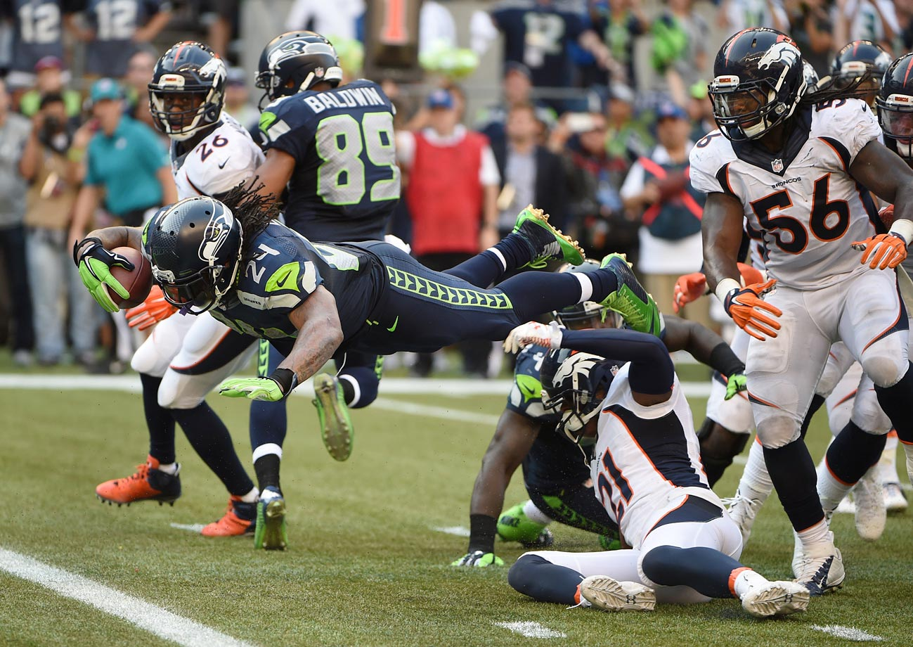 In a wild Week 3 matchup, Seattle gave up a 17-3 fourth-quarter lead to the Broncos, and they went into overtime tied at 20. But Wilson kept the ball out of Peyton Manning's hands in the extra period, completing 4 of 6 passes before Lynch ended the game with a six-yard touchdown run.
