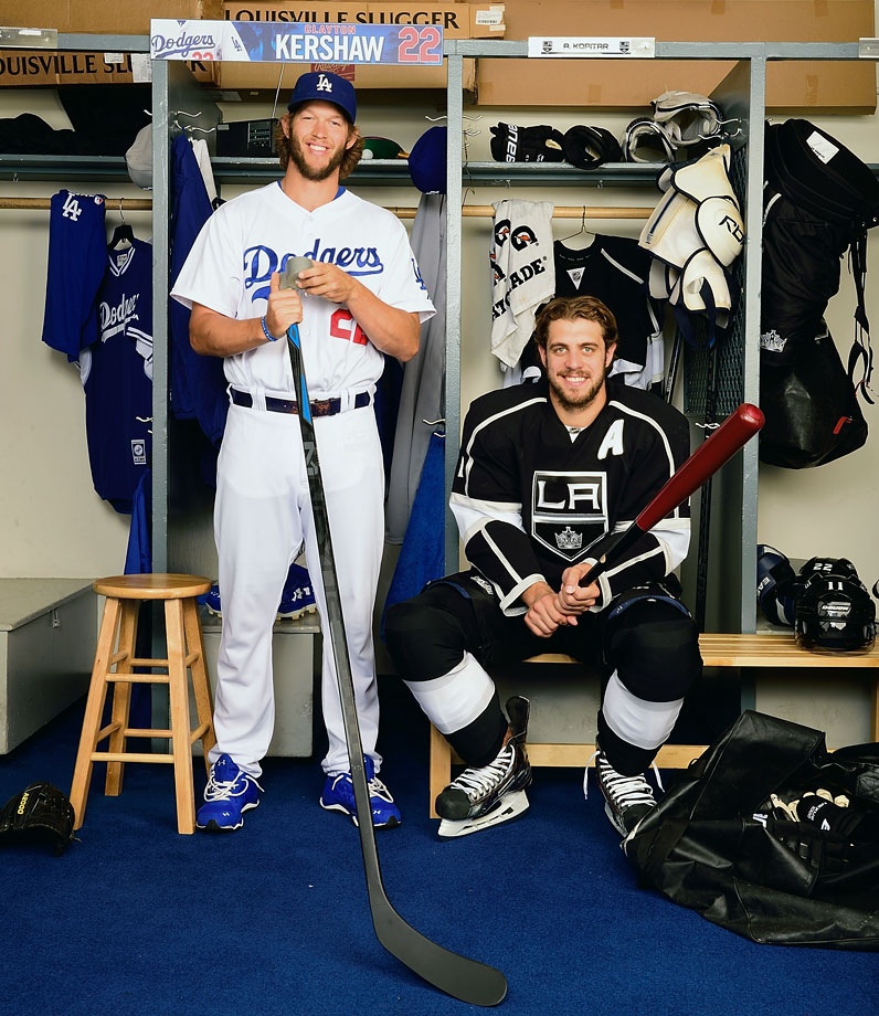 Clayton Kershaw poses with Los Angeles Kings center Anze Kopitar during a photo shoot for SI at Dodger Stadium in Los Angeles.
