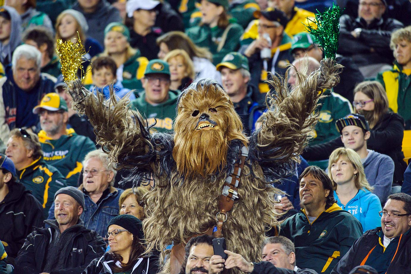 An Edmonton Eskimos fan dressed up as Chewbacca cheers on the team during their CFL game against Saskatchewan Roughriders on Sept. 26, 2014 at Commonwealth Stadium in Edmonton, Canada.