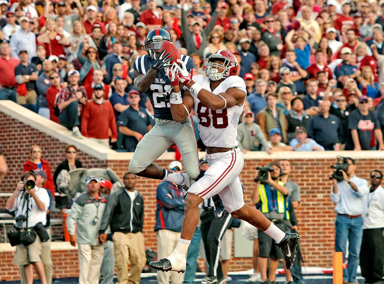 The Tide took their lone loss in the season in Oxford, Miss., where the Rebels rallied from an 11-point deficit to win. Alabama's last-gasp effort fell short when Ole Miss cornerback Senquez Golson intercepted Sims' fourth-quarter pass.
