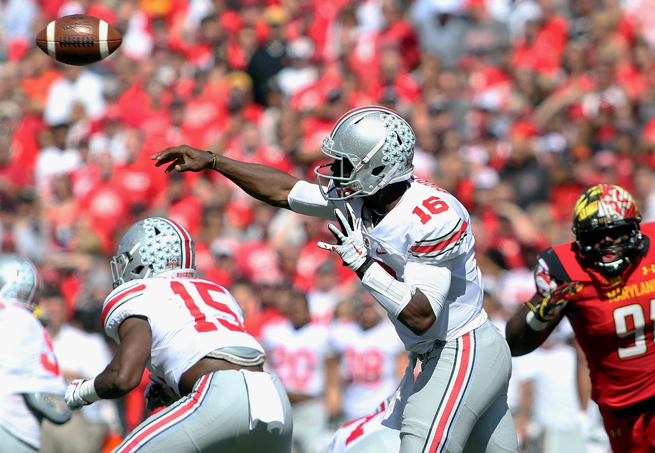 The Buckeyes gave Maryland a cold welcome to the Big Ten in the Terrapins' first home conference  game. Barrett continued to show his rapid improvement, passing for 267 yards with five total touchdowns, and Ohio State's defense forced four interceptions.