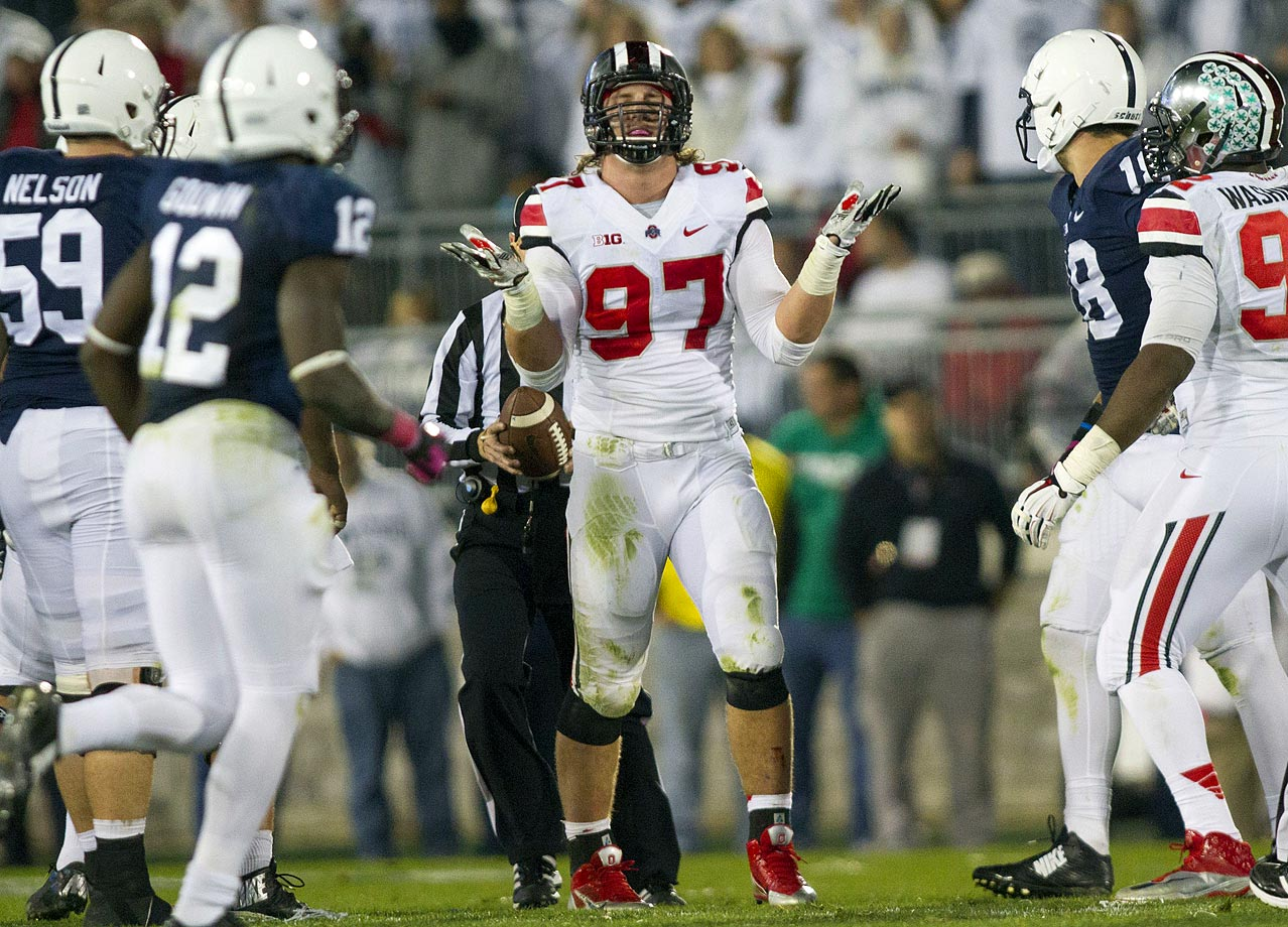 With Barrett struggling through a sprained MCL, the Buckeyes blew a 17-0 lead but escaped Happy Valley with a double-overtime victory. Joey Bosa picked up 2 1/2 sacks, the last one ending the game by forcing a turnover-on-downs.