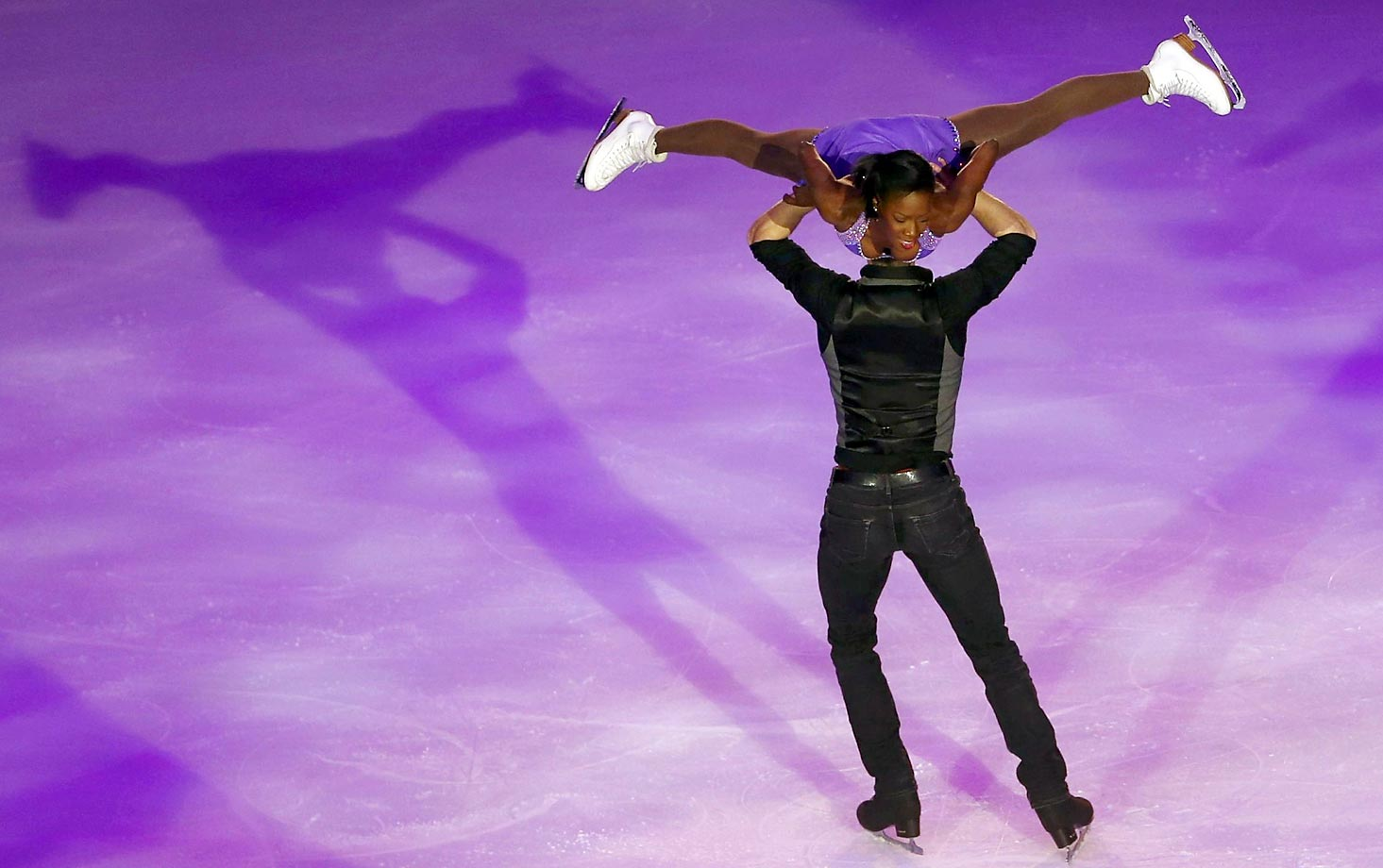 Where's Morgan Cipres's head as he skates with Vanessa James?