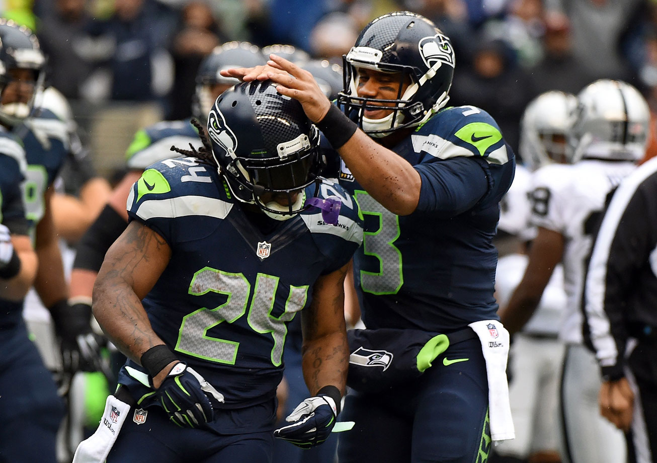 Lynch kept the Seahawks going in their 30-24 win over the Oakland Raiders in Week 9. The performance from the Seahawks' running back, who ran for 67 yards and two scores in addition to 76 yards receiving, atoned for a poor game from Russell Wilson, who completed fewer than 50 percent of his passes for only 179 yards.