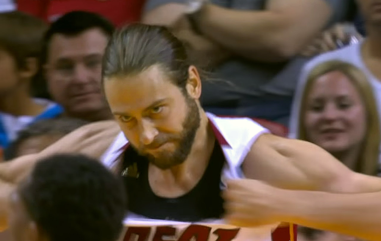 Heat forward Josh McRoberts tore his own jersey in anger after missing a rebound in a win over the Raptors on Nov. 2 and had to come out of the game.