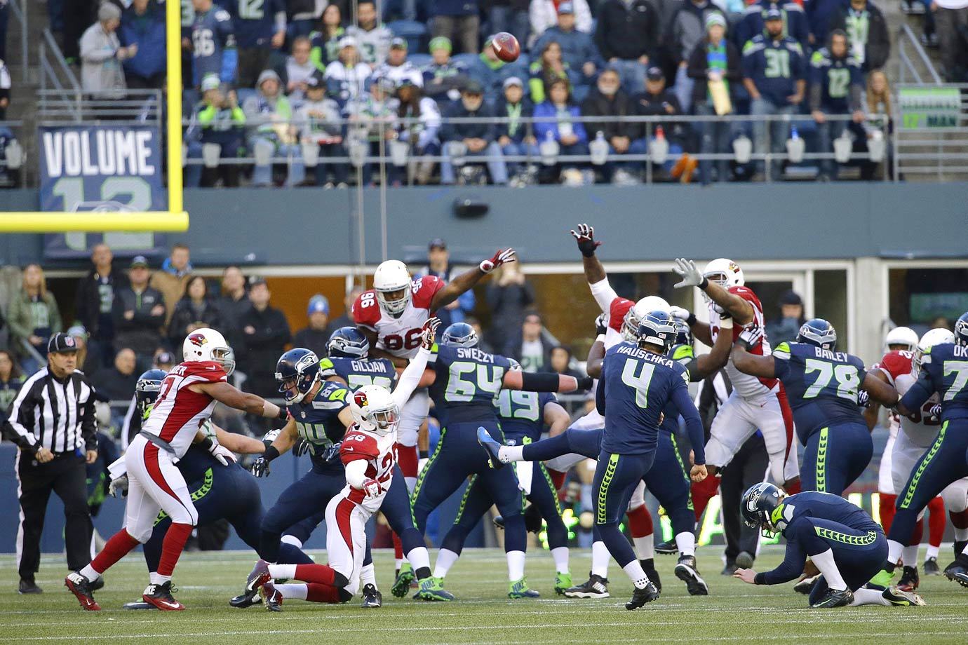 Seattle bounced back from the Chiefs loss with a 19-3 win over NFC West rival Arizona. The Cardinals passed for only 149 yards and their running game was erased. Wilson completed 17 of 22 passes and threw the game's only touchdown, while Steven Hauschka connected on four field goals.