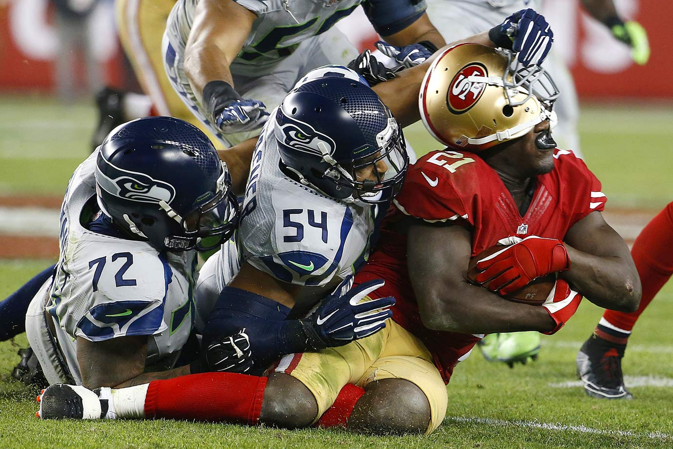 In a rematch of last year's NFC Championship, the Seahawks routed the 49ers on Thanksgiving. Colin Kaepernick was held to under 130 yards passing, and Frank Gore ran for fewer than 30 yards. For the second straight week, Wilson threw for the game's only touchdown and Steven Hauschka made four field goals.