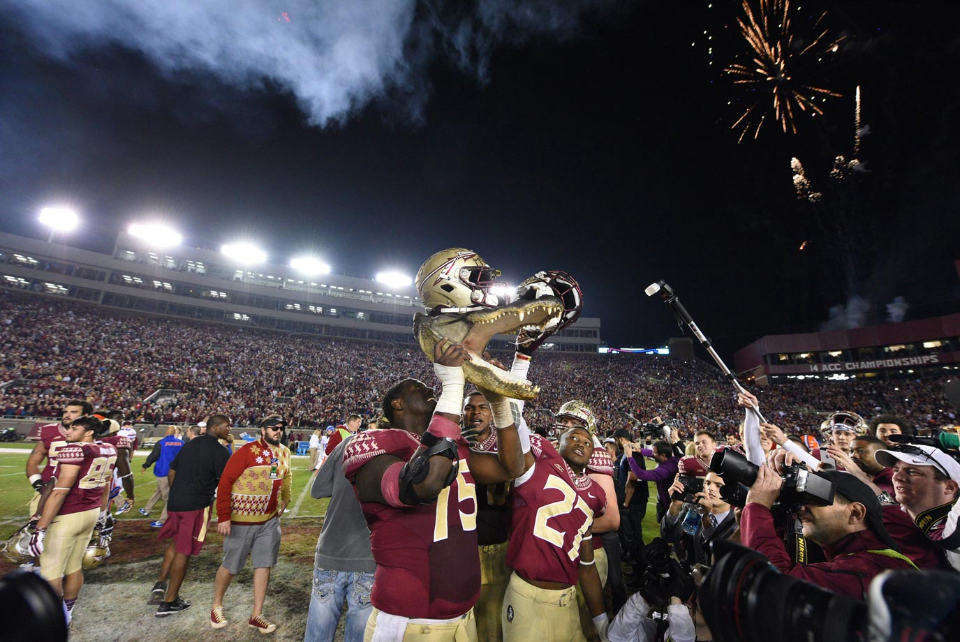 Despite four interceptions from Winston, the Seminoles hung on to beat their rivals. Florida kicker Austin Hardin missed two go-ahead field goals in the second half, and quarterback Treon Harris failed to lead the Gators to a game-winning touchdown on their final drive.