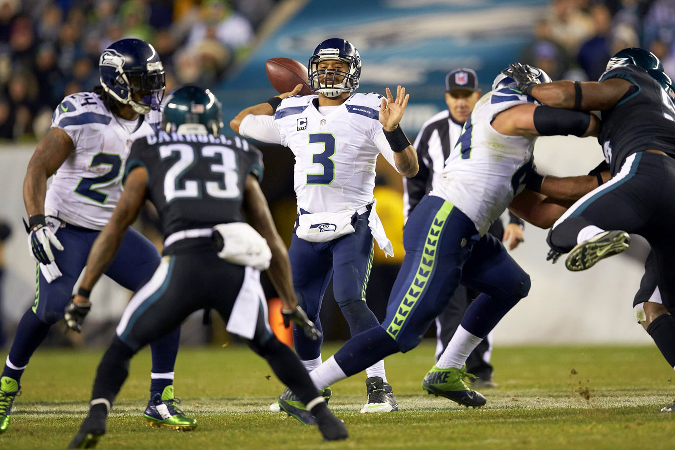 Wilson accounted for all of Seattle's touchdowns in their Week 14 win over the fast-paced Eagles. The Seahawks' QB threw for two scores and added another on the ground, while Philadelphia quarterback Mark Sanchez threw for only 96 yards in a 24-20 loss.
