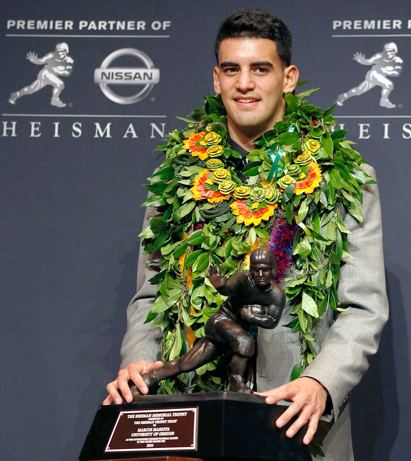 There were 10 Heisman voters who did not have winner Marcus Mariota in their top three.  The Oregon quarterback threw for 3,783 yards, 38 TDs and only two interceptions.