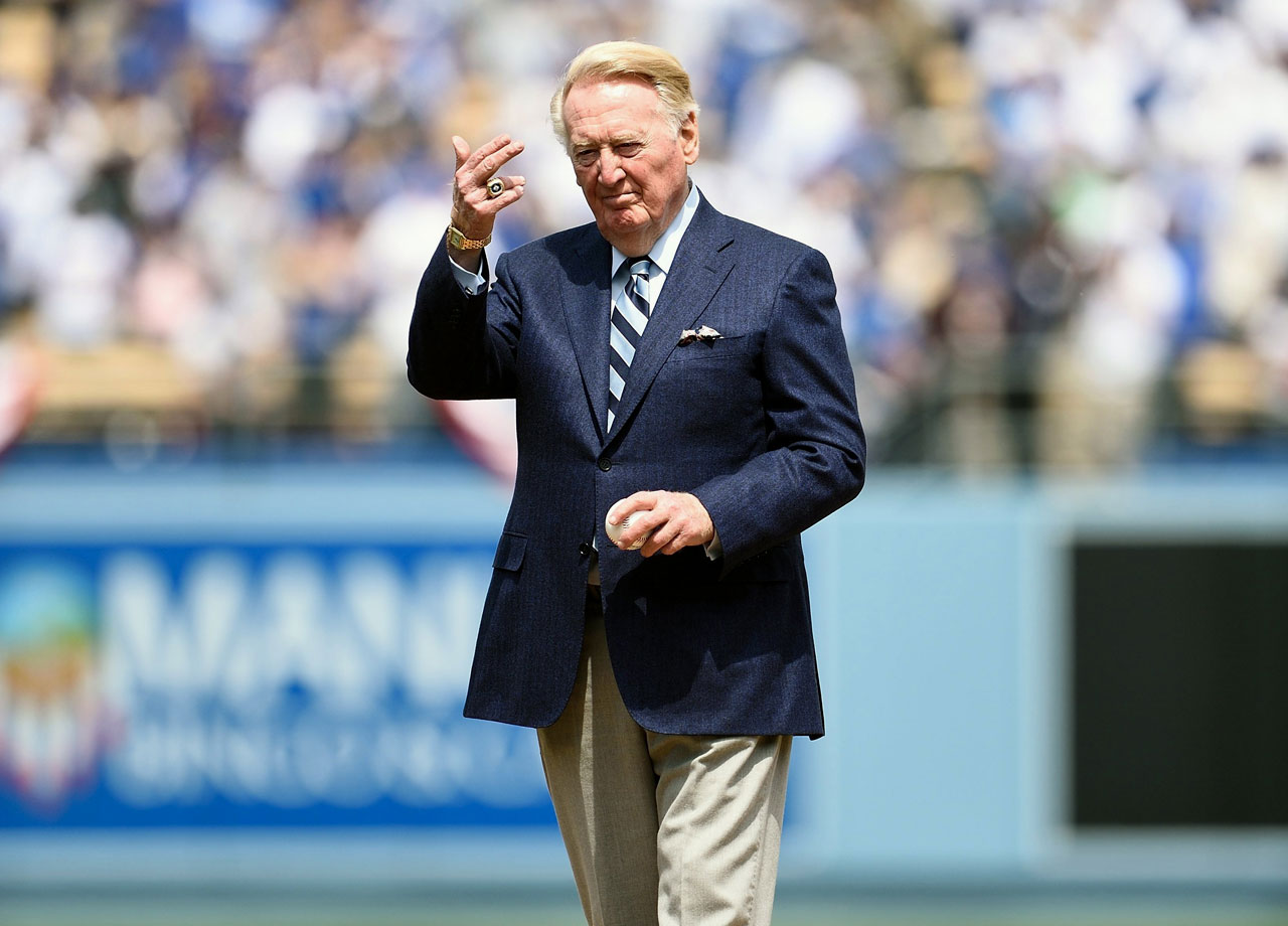 Dodgers announcer Vin Scully briefly lost his World Series ring from the team's 1988 victory while shopping at Costco, and found it in a bag of ribs.