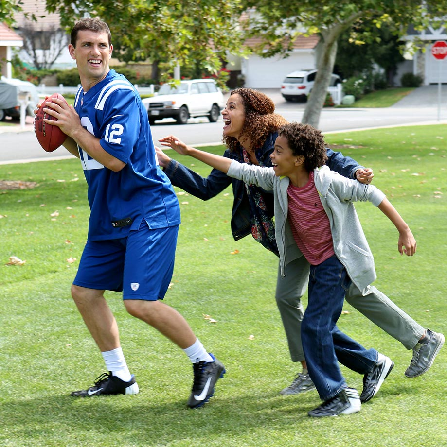 Andrew Luck is seen behind the scenes filming a commercial for Quaker on June 7, 2014 in Los Angeles.