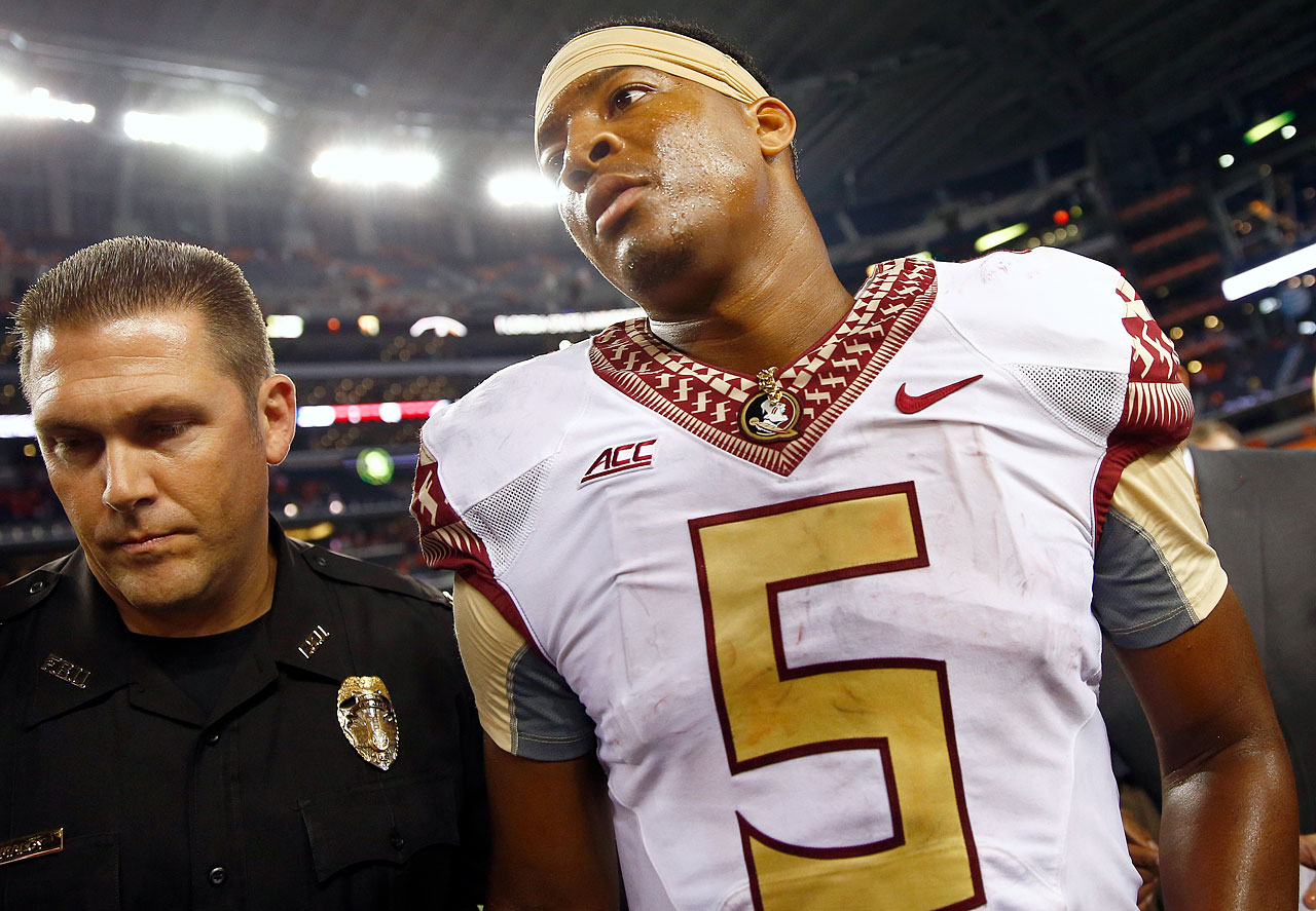Florida State's reigning Heisman Trophy winner became an ongoing farce with a string of unsavory incidents ranging from pilfering crab legs from a supermarket to getting suspended for half a game against Clemson after shouting out an obscenity from atop a table in the student union to shoving an official (an act that merited an ejection) during a game against Boston College. Meanwhile, his draft stock continues to wobble precariously.