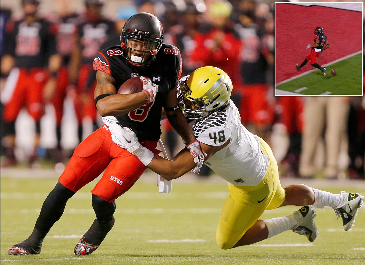 The Utah wideout was on his way to a sure 79-yard TD against Oregon when he laid an egg -- in the form of the football -- two yards shy of the goal line before crossing it. While Clay and his teammates whooped it up, the Ducks realized the ball was live and, after a brief scrum, returned it 100 yards for the score that cut Utah's lead to 14-7. Oregon went on to win, 51-27.