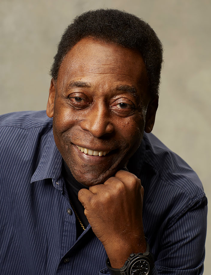 Pelé smiles during a photo shoot on Jan. 30, 2014 in New York City.