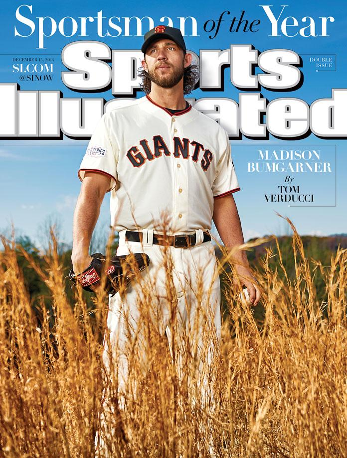 December 15, 2014 | San Francisco Giants pitcher Madison Bumgarner had a postseason for the ages, giving up only six earned runs while pitching a record 52 2/3 innings helping the Giants to their third World Series title in the past five seasons.  He is seventh MLB pitcher to be awarded Sports Illustrated's Sportsman of the Year.