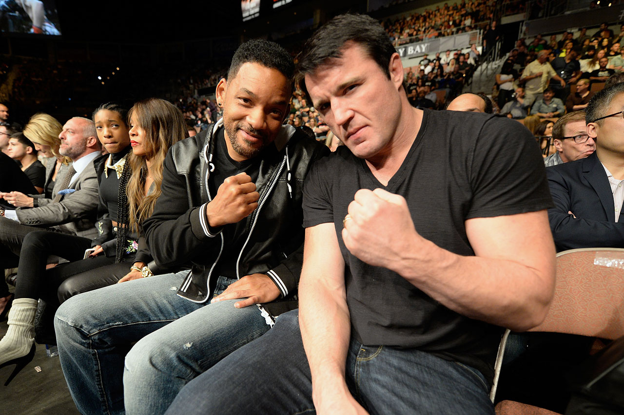 Will Smith and UFC light heavyweight Chael Sonnen pose while in attendance for UFC 170 inside the Mandalay Bay Events Center in Las Vegas.