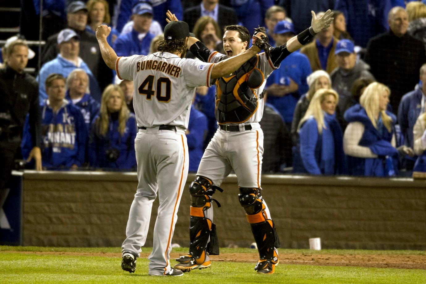 After the Giants went ahead 3-2 in the top of the fifth of Game 7, manager Bruce Bochy eschewed his normal relief options and called for ace Madison Bumgarner, who threw 117 pitches three days earlier. MadBum stared down the Royals for five innings, giving up a hit to the first batter he faced and then retiring the next 14 in a row. He induced Royals catcher Salvador Perez to foul out to third for the final out, giving the Giants their third title in five seasons. Bumgarner was credited with a save, and he finished the Fall Classic 2-0 with a 0.43 ERA and 17 strikeouts against just one walk. And, yes, he was named MVP.