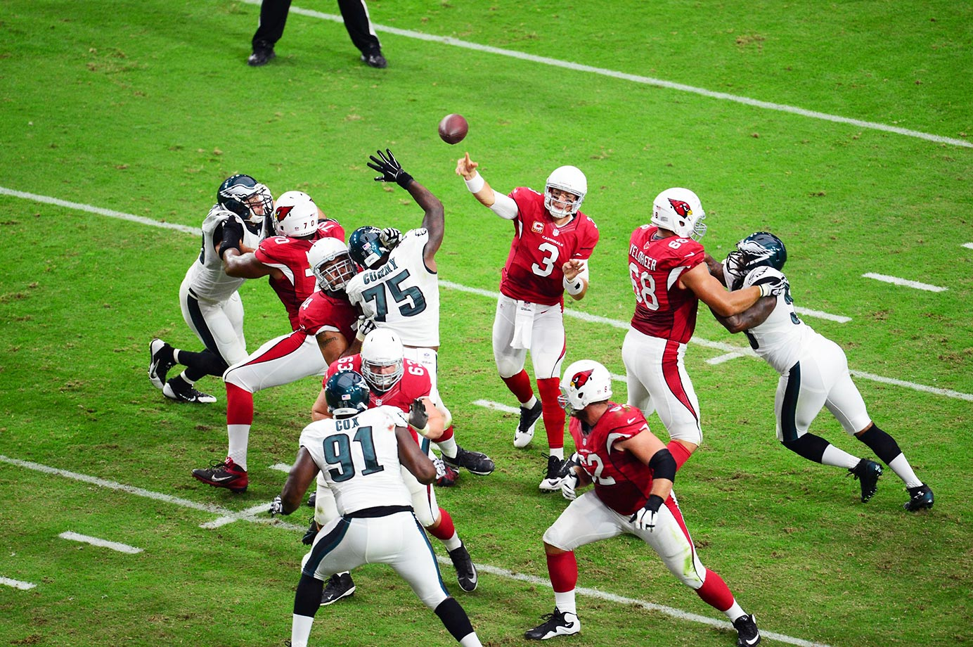 The Cardinals won all six of the games in which Palmer started in 2014, including this one against Philadelphia.