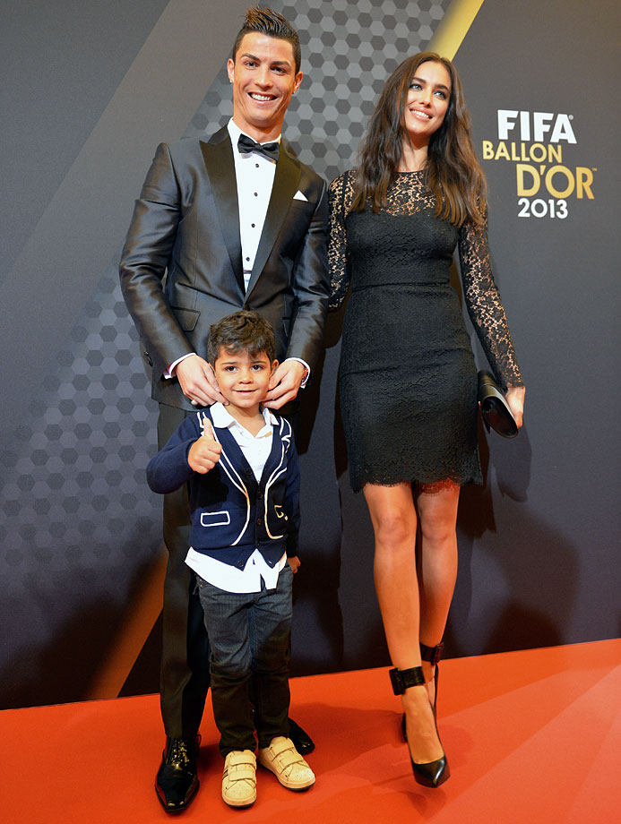 FIFA Ballon d'Or nominee Cristiano Ronaldo, his son Cristiano Ronaldo Jr., and Irina Shayk arrive at the FIFA Ballon d'Or Gala 2013 at the Kongresshaus in Zurich, Switzerland. Ronaldo won the award as FIFA top player over Lionel Messi and Franck Ribery.