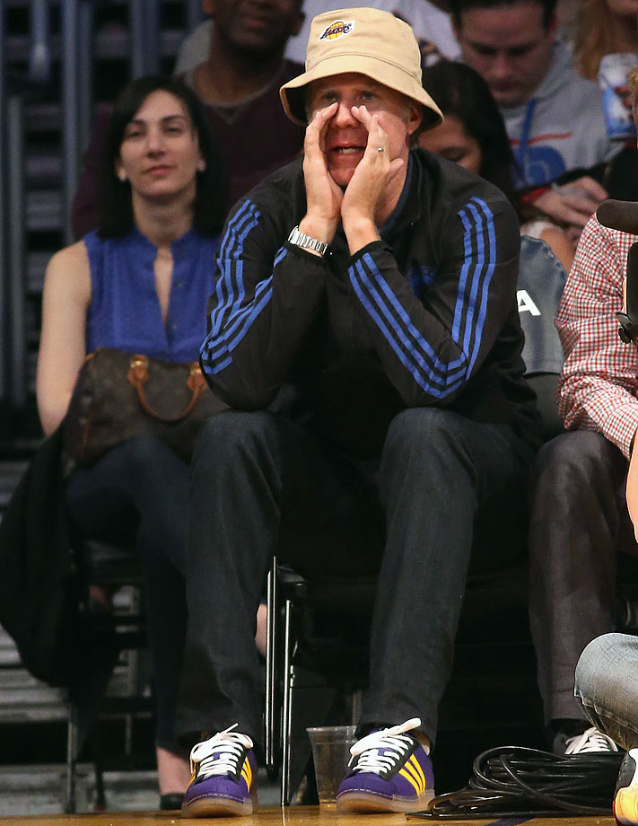 Will Ferrell shouts during the Los Angeles Lakers game against the Sacramento Kings on Feb. 28, 2014 at Staples Center in Los Angeles.