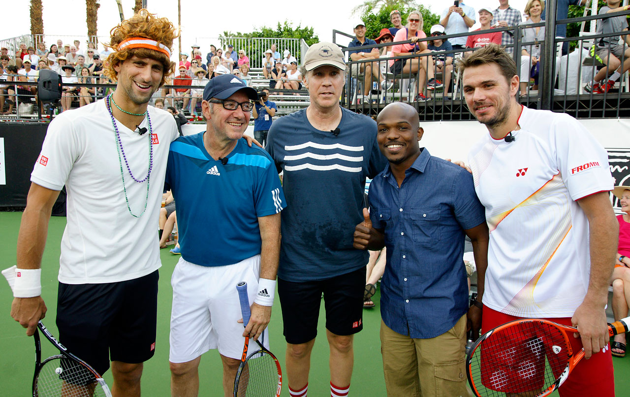 Novak Djokovic, Kevin Spacey, Will Ferrell, Tim Bradley and Stan Wawrinka pose together during the 10th Anniversary Desert Smash on March 4, 2014 at La Quinta Resort and Club in La Quinta, Calif.
