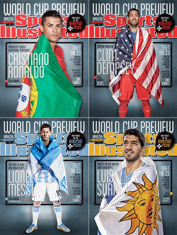 The three best soccer players in the world (Lionel Messi, Cristiano Ronaldo and Luis Suárez) and the captain of the U.S. national team (Clint Dempsey) on the cover of Sports Illustrated magazine in 2014.