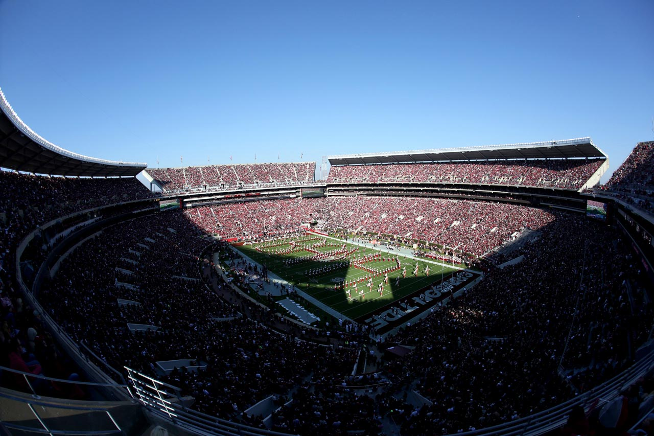 An overall view of the field as the Alabama marching band performs.
