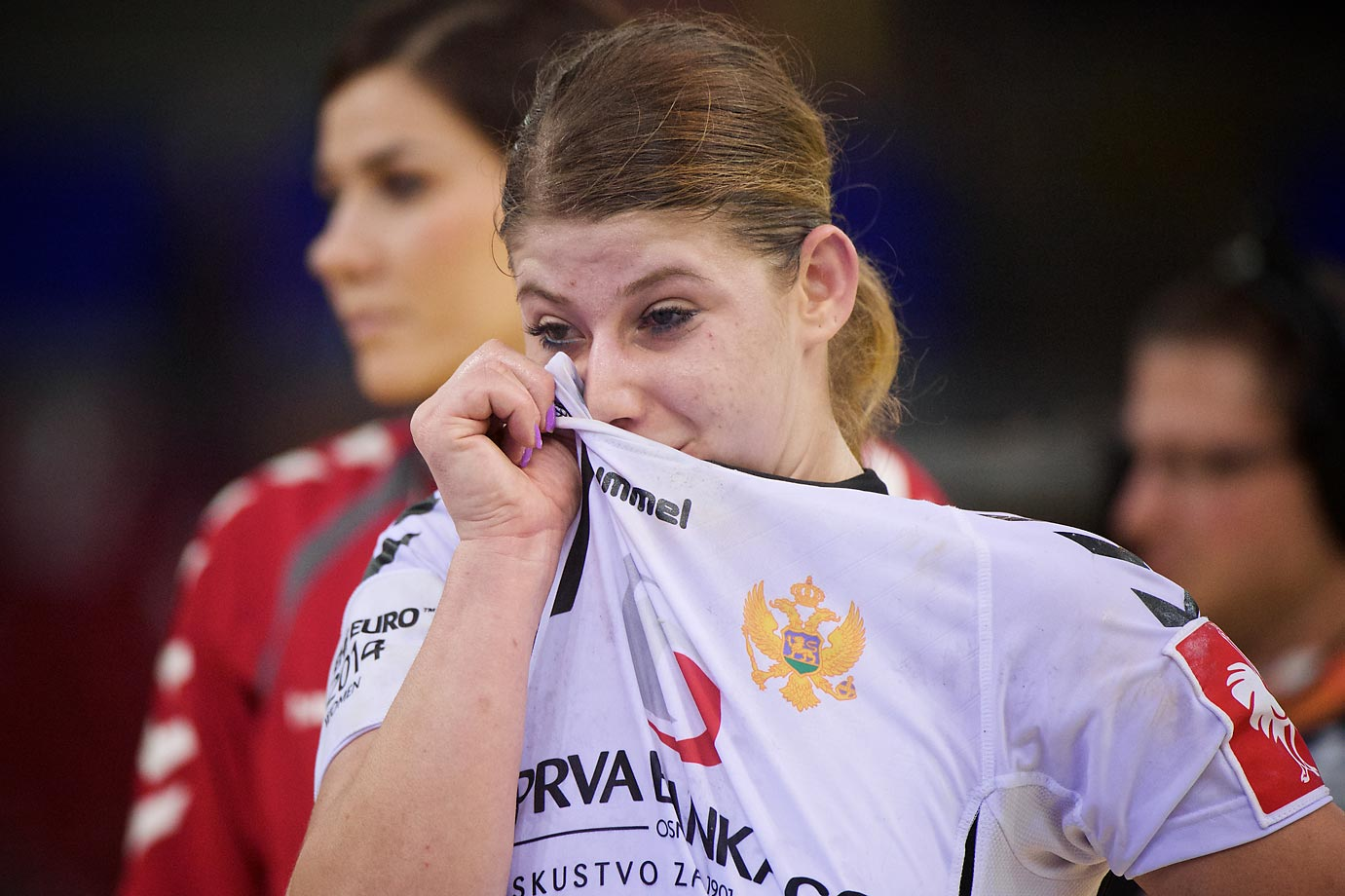 Montenegro's Majda Mehmedovic wipes her tears after her team lost a semi-final game to Spain.