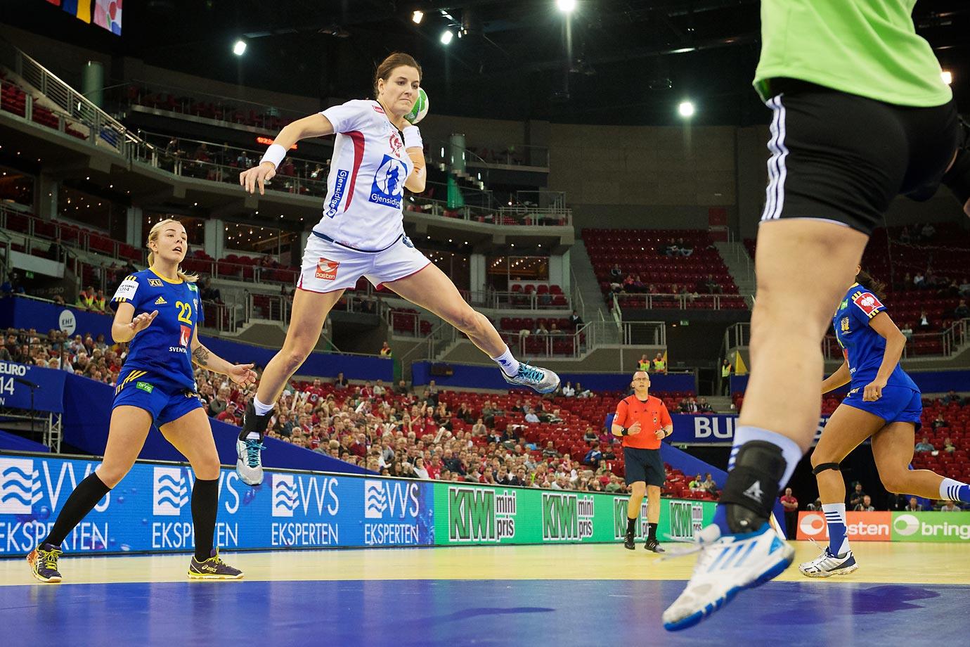 Norway's Linn-Kristin Riegelhuth Koren scores during a semi-final game against Sweden.