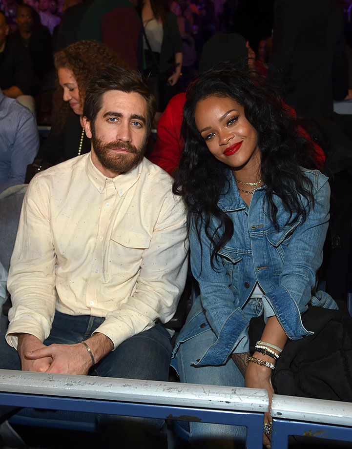 Jake Gyllenhaal and Rihanna attend Roc Nation Sports Presents: Throne Boxing on Jan. 9, 2015 at The Theater at Madison Square Garden in New York City.