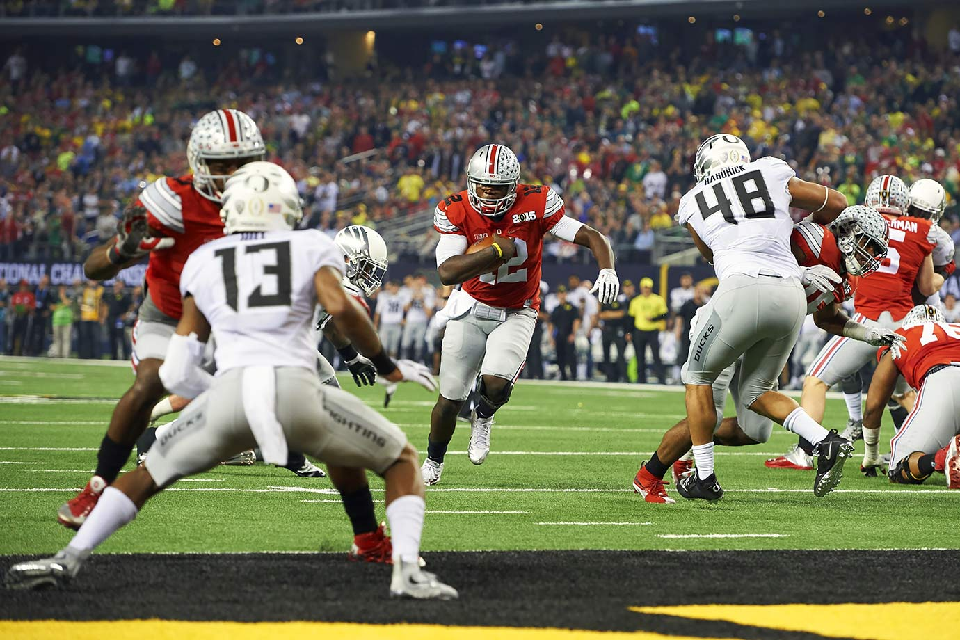 Despite being seeded fourth in the first year of the new College Football Playoff system, the Ohio State Buckeyes upset both Alabama and Oregon to win head coach Urban Meyer's third national championship. The Buckeyes were led by Cardale Jones, who started the 2014 season behind Braxton Miller and J.T. Barrett, who both went down with season-ending injuries.