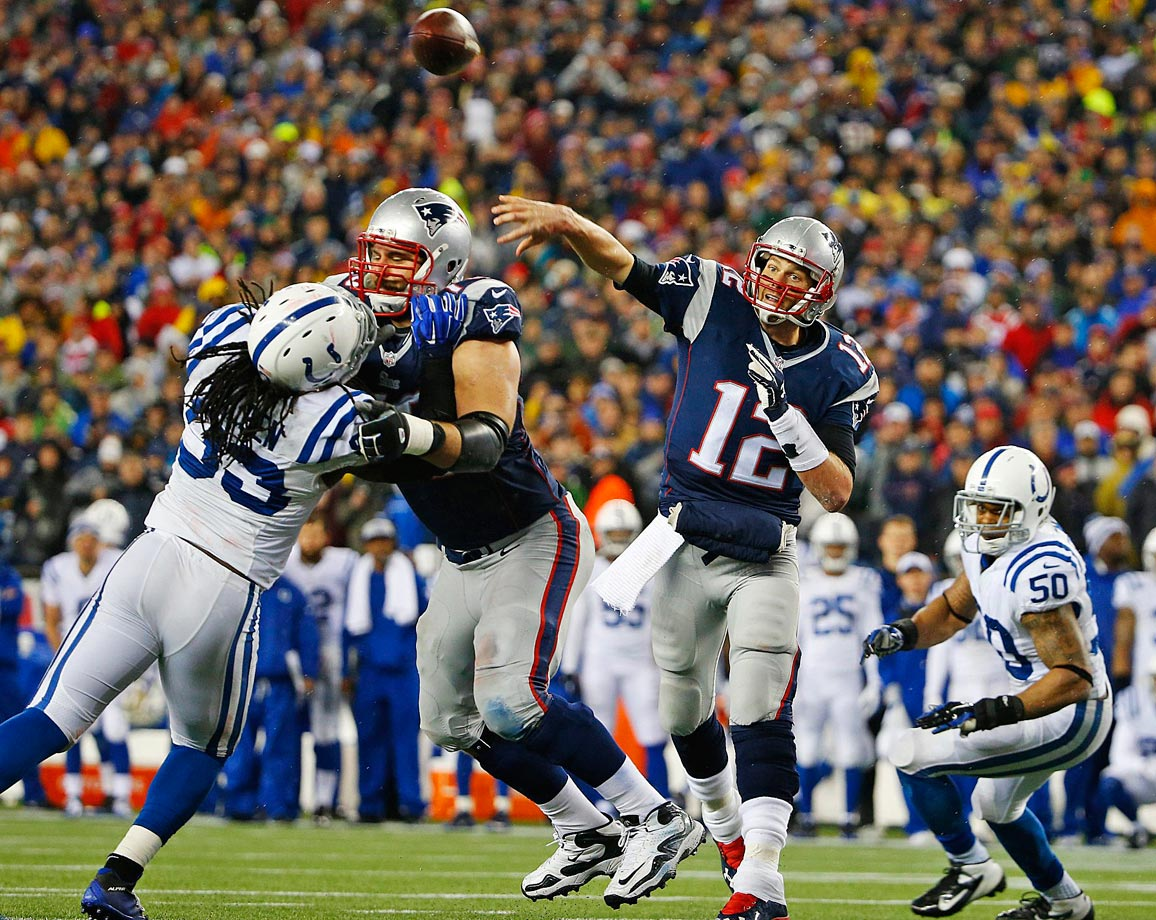In a repeat of their regular season matchup, New England thoroughly dominated Indianapolis in the AFC championship game, winning 45-7. The Pats' defense stifled Andrew Luck, who completed only 12 of 33 passes for 126 yards and no touchdowns. Of course, the game has since gained notoriety when the NFL investigated and confirmed that the Patriots were using illegally deflated balls.