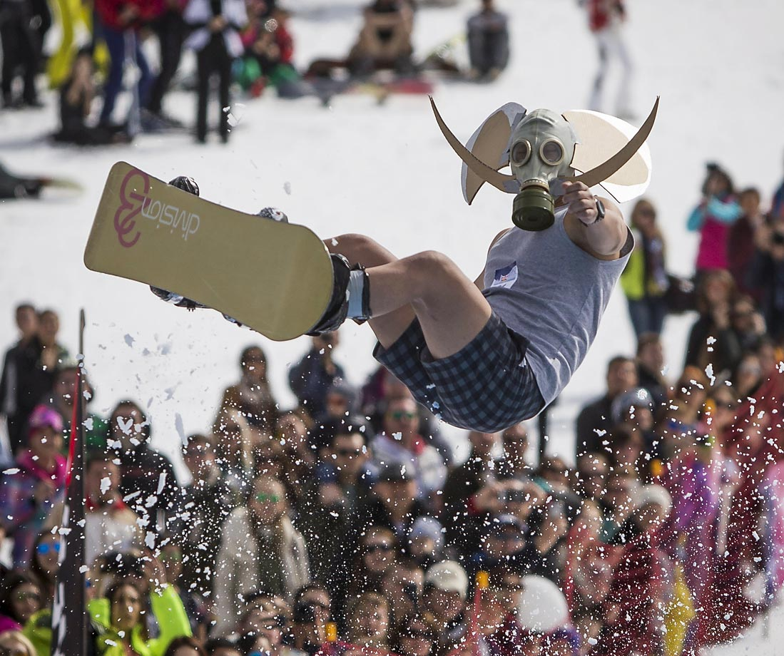 A snowboarder during the Red Bull Jump and Freeze competition.