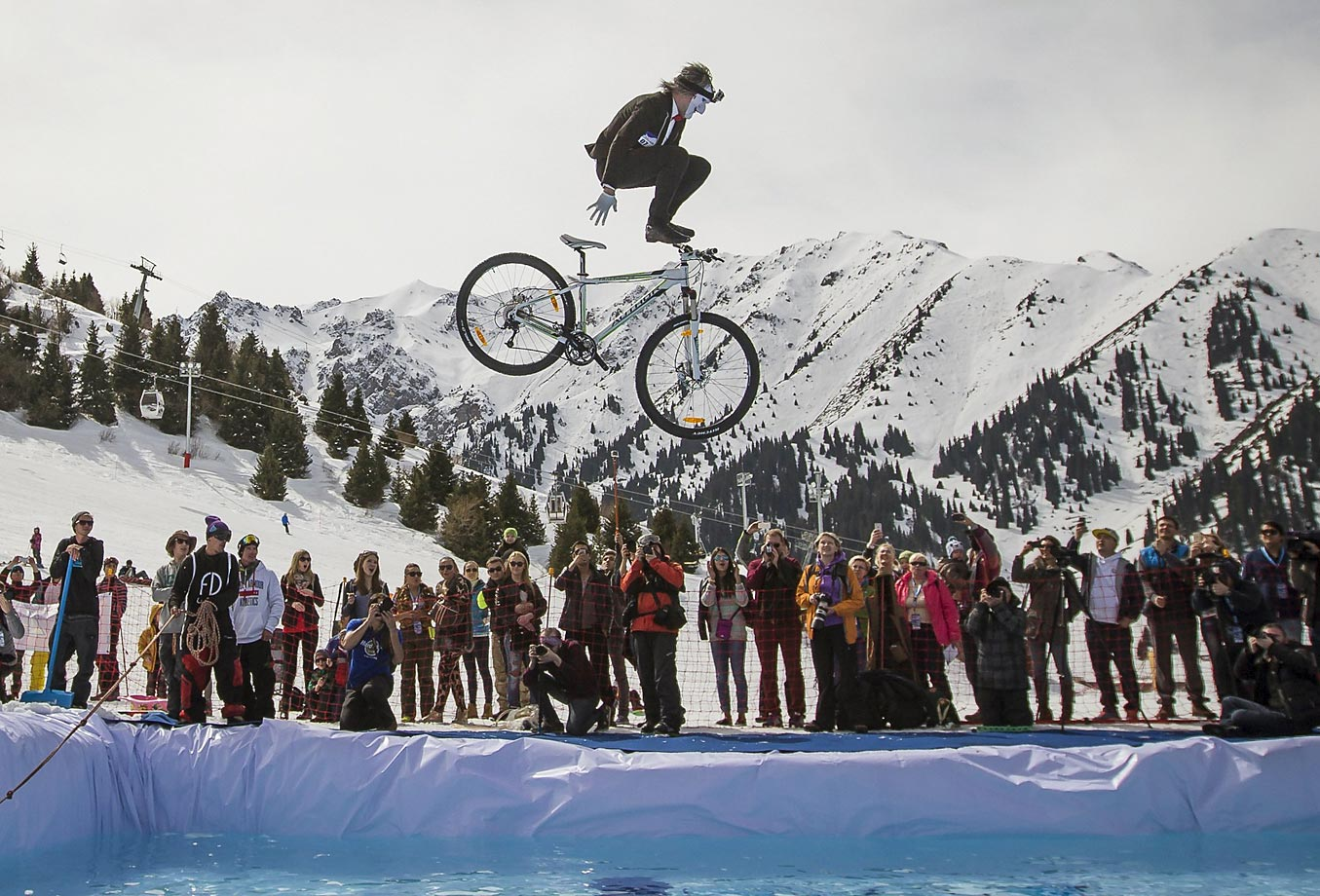 A cyclist soars during the Red Bull Jump and Freeze competition.
